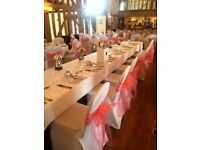 Black / White Chair Cover & Sash Hire - 90p DIY / £1.45 set up.. Backdrop / Flower Wall / Balloons