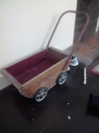 Antique Wooden Toys - Scooter and a Push Cart