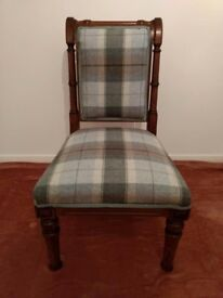 Antique Walnut Scroll Back Chair- Newly Reupholstered.