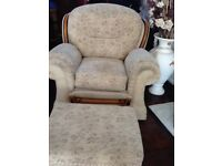Lovely recliner chair and footstool with storage