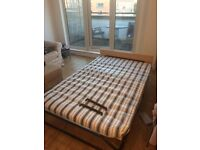 Folding bed with mattress and headboard