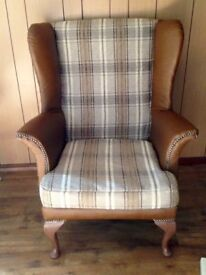 Wingback/Fire side Arm check,re-upholstered tweed&leather