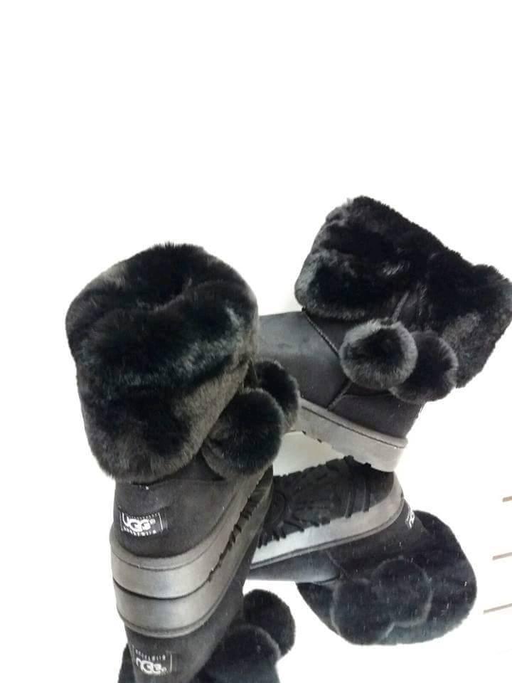 Ladies Black Pom Pom Ugg Boots