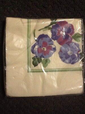 Purple Pansies Bridal Shower Birthday Supplies Napkins 16 Ct. NOS Vintage