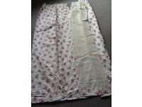 Pink and cream tea rose fully lined blackout lined curtains, pencil pleat, 100 % cotton