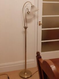 Brass effect lamp stand with 2 lights