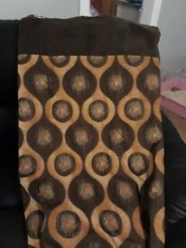 """90 """" drop brown and gold ring top curtains"""