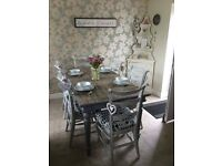 Stunning solid oak table and 6 chairs shabby chic style.
