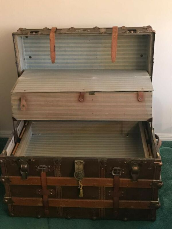 Antique Steamer Trunk by L. Goldsmith & Son