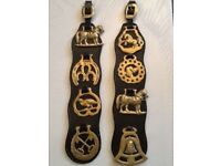 Horse Brasses on leather straps x 2 - old not contemporary