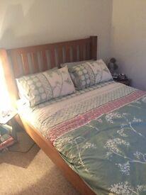 Oak bedframe with mattress