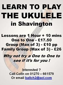 Ukulele Tuition - Shavington CW2 , between Crewe and Nantwich. £17.50 for 1 Hour.