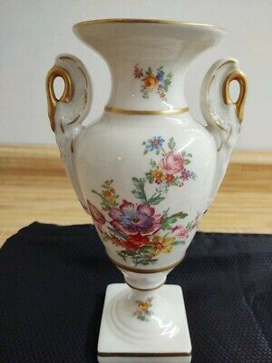 Large vintage ceramic urn style floral decaled gold trimmed footed vase Large Floral Vase