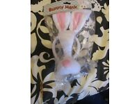 white rabbit mask with ears on a headband not in the pack alice in wonderland word book day