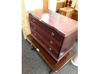 Small mahogany chest of drawers Copley Mill Low Cost Moves 2nd Hand Furniture STALYBRIDGE SK15 3DN