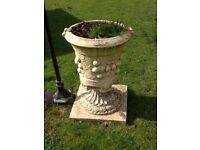 Pair of large heavy urn planters