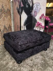 New Laurence Llewelyn-Bowen Scarpa Footstool In A Crushed Velvet Fabric £80