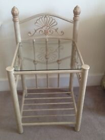 Pair of metal bedside tables in champagne colour. Good condition