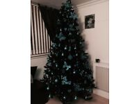 8ft black Christmas tree lights and decorations