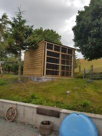 3.6 metres x 3.6 metres aviary pen , shed
