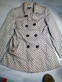 Cream/ black poka dot coat/jacket size 10 £1