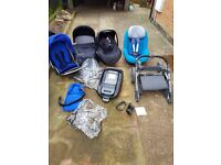 Oyster travel system, family fix base, pebble and pearl car seats