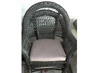 Grey outdoor armchairs