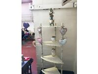 Shabby Chic Cream Corner Shelves with Pink Stencilling