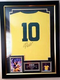 Autographed Pele Brazil Shirt And Frame And Certificate of Authenticity
