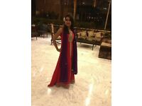 Indian Party Wear: Eye-catching Red and Purple chiffon maxi dress for formal and wedding functions