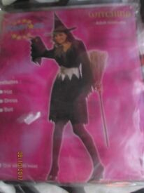 BLACK WITCH FANCY DRESS OUTFIT SIZE 10/12 GREAT FOR A HALLOWEEN PARTY