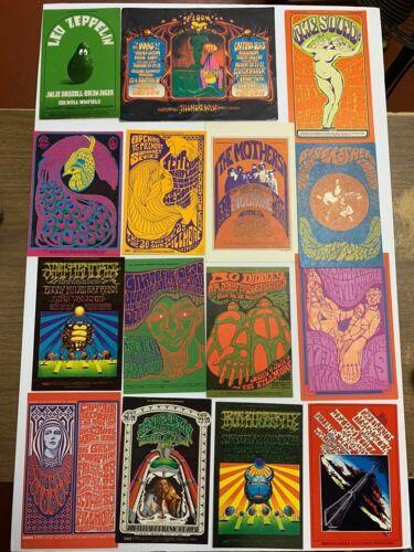 Lot of 15 Vintage Bill Graham Playbill Postcards