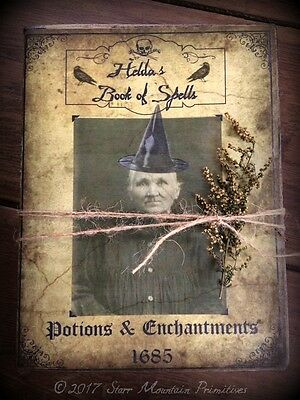 Primitive Halloween Prop Witch Book of Spells Potions Journal Cupboard Tuck  - Witch Spells Halloween