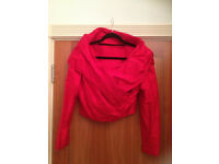 LADIES 2 PIECE RED SUIT - RAW SILK - SIZE 12 - TATTERSALL & HUNT
