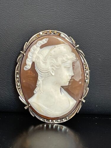 LARGE VINTAGE ITALIAN 800 SILVER CARVED SHELL CAMEO BROOCH PENDANT,SIGNED