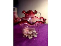 Victorian Cranberry Glass Jug & Bowl set