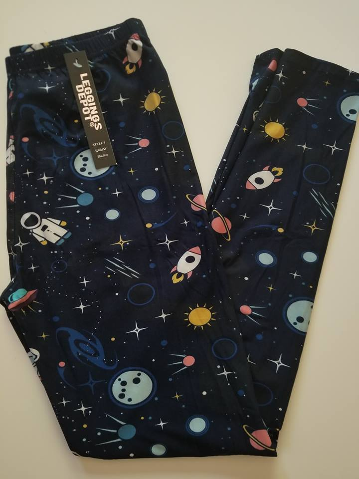 One Size/Plus Size navy blue spaceship planets moon sun- Leg