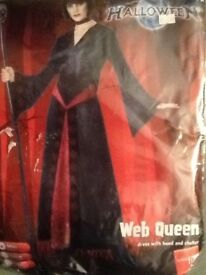 GOTHIC WEB QUEEN BLACK VELVET ROBE OUTFIT SIZE 8/10 PARTY OR HEN DO
