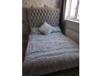 Crushed Velvet Tall Sleigh Beds