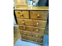 Solid pine VERY LARGE 6 drawer chest of drawers