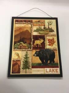 Mountain Lake Bear wood sign log cabin decor decorations fishing hunting camper