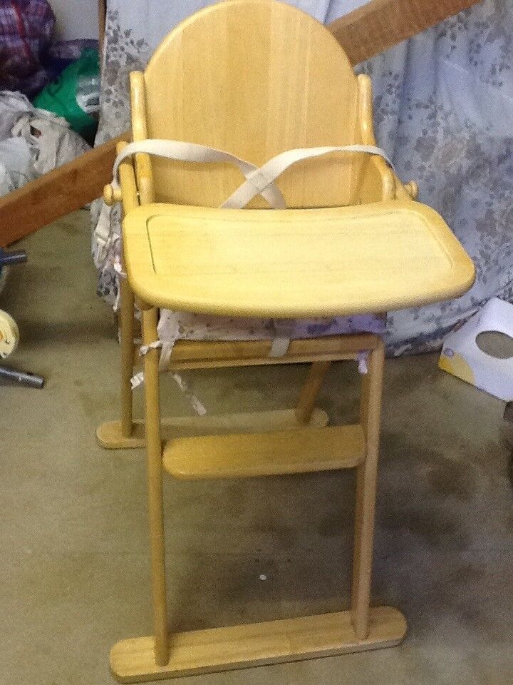 Wooden high chair with adjustable cushion and safety double locks ...