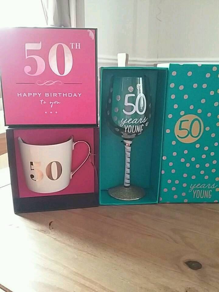 50th birthday mug and glass both brand new.