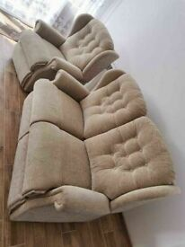 CAN DELIVER - 2-SEATER SOFA + ARMCHAIR IN GOOD CONDITION