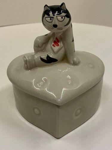 Takahashi - Ceramic - Hand Painted - Heart Shaped Tom Cat - Trinket Box