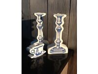 A set of 3 beautiful ceramic candle sticks with blue decorative print, for sale £20 for the set
