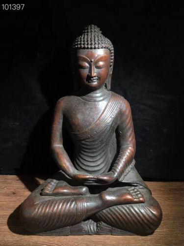 """15"""" Old Tibet Buddhism Bronze Sit Sakyamuni Shakyamuni Amitabha Buddha Statue"""