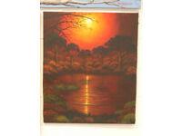 large 70z50 cmtrs canvas hand painted- zambezi lagoon -