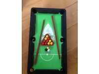 Tabletop TOY pool table (12 colour balls, 1 triangle, 2 cues) very good condition