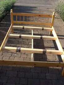 Pine double bed (includes mattress)